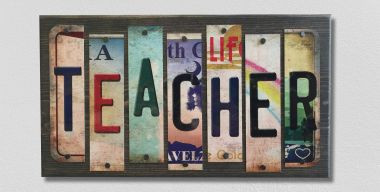 Teacher License Plate Strip Wholesale Wood Sign WS-003