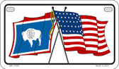 Wyoming / USA Flag Wholesale Novelty Motorcycle Plate MP-11510