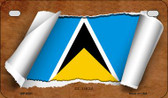 St. Lucia Flag Scroll Wholesale Novelty Motorcycle Plate MP-9291