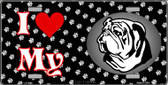 I Love My Bulldog Wholesale Metal Novelty License Plate LP-3896