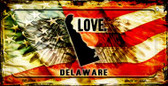 Delaware Love & Wings Wholesale Novelty Bicycle Plate BP-8594
