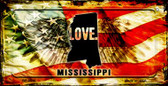 Mississippi Love & Wings Wholesale Novelty Bicycle Plate BP-8610