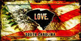 South Carolina Love & Wings Wholesale Novelty Bicycle Plate BP-8626