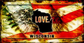 Wisconsin Love & Wings Wholesale Novelty Bicycle Plate BP-8635