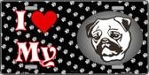 I Love My Pug Wholesale Metal Novelty License Plate LP-3924