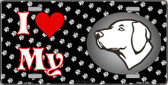 I Love My Vizsla Wholesale Metal Novelty License Plate LP-3931