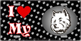 I Love My West Highland White Terrier Dog Wholesale Metal Novelty License Plate LP-3933