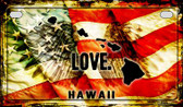 Hawaii Love & Wings Wholesale Novelty Motorcycle Plate MP-8597