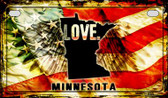 Minnesota Love & Wings Wholesale Novelty Motorcycle Plate MP-8609