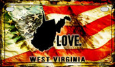 West Virginia Love & Wings Wholesale Novelty Motorcycle Plate MP-8634