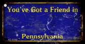 Pennsylvania Blue Rusty Blank Background Wholesale Aluminum Key Chain KC-8199