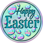 Happy Easter with Eggs Wholesale Novelty Metal Circular Sign C-831