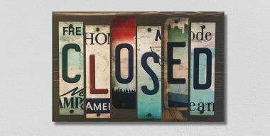 Closed License Plate Strip Wholesale Novelty Wood Sign WS-007