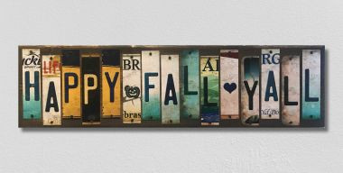 Happy Fall Yall License Plate Strip Wholesale Novelty Wood Sign WS-009