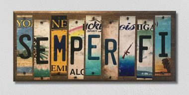 Semper Fi License Plate Strip Wholesale Novelty Wood Sign WS-014