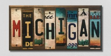 Michigan License Plate Strip Wholesale Novelty Wood Sign WS-028