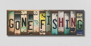 Gone Fishing License Plate Strip Wholesale Novelty Wood Sign WS-038