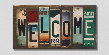 Welcome License Plate Strip Wholesale Novelty Wood Sign WS-039