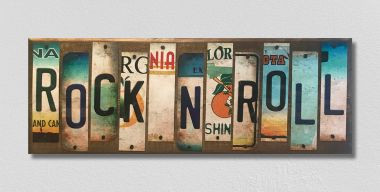 Rock N Roll License Plate Strip Wholesale Novelty Wood Sign WS-057
