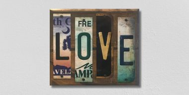 Love License Plate Strip Wholesale Novelty Wood Sign WS-068