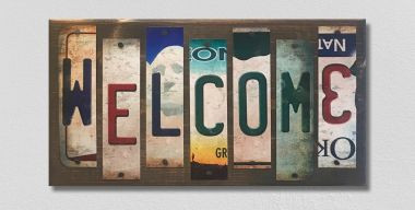 Welcome License Plate Strip Wholesale Novelty Wood Sign WS-084