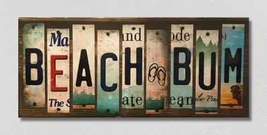 Beach Bum License Plate Strips Wholesale Novelty Wood Sign WS-131