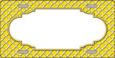 Yellow White Quatrefoil Center Scallop Wholesale Metal Novelty License Plate LP-4300