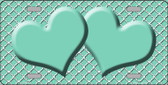 Mint White Quatrefoil Print And Mint Center Hearts Wholesale Metal Novelty License Plate LP-4340