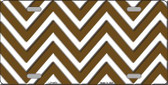 Brown White Chevron Wholesale Metal Novelty License Plate LP-4476