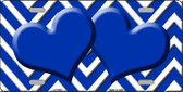 Blue White Chevron Blue Center Hearts Wholesale Metal Novelty License Plate Tag