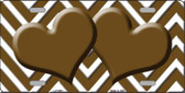 Brown White Chevron Brown Center HeartsWholesale Metal Novelty License Plate LP-4491