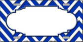 Blue White Chevron Center Scallop Wholesale Metal Novelty License Plate LP-4500