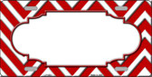 Red White Chevron Center Scallop Wholesale Metal Novelty License Plate LP-4503