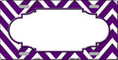 Purple White Chevron Center Scallop Wholesale Metal Novelty License Plate LP-4505