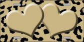 Gold Black Cheetah With Gold Center Hearts Wholesale Metal Novelty License Plate LP-4542
