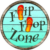 Orange Flip Flop Zone Wholesale Novelty Metal Circular Sign C-880