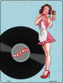Girl With Vinal Record Vintage Pinup Wholesale Parking Sign P-1828