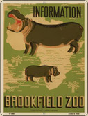 Information Brookfield Zoo Vintage Poster Wholesale Parking Sign P-1865