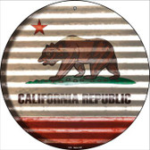 California Flag Corrugated Effect Wholesale Novelty Circular Sign C-915