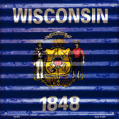 Wisconsin Flag Corrugated Effect Wholesale Novelty Square Sign SQ-473