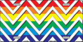 Rainbow White Chevron Wholesale Metal Novelty License Plate LP-4765