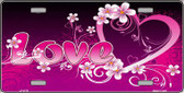 Love Heart And Flowers Wholesale Metal Novelty License Plate LP-4775