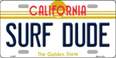 Surf Dude California Novelty Wholesale Metal License Plate LP-4887