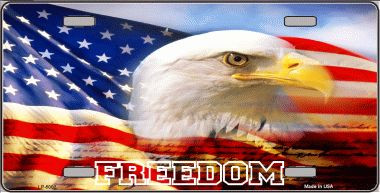 Freedom Bald Eagle Metal License Plate
