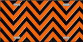Orange Black Chevron Wholesale Metal Novelty License Plate LP-5036
