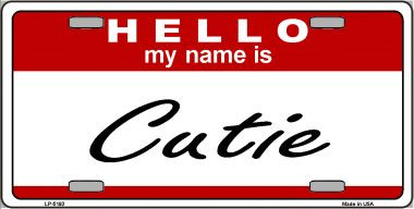 Cutie Wholesale Metal Novelty License Plate LP-5193
