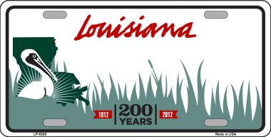 Louisiana novelty state background blank wholesale metal for Louisiana fishing license online