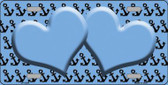 Light Blue Black Anchor Print With Light Blue Heart Center Wholesale Metal Novelty License Plate LP-5308