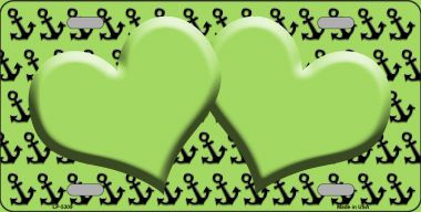 Lime Green Black Anchor Print With Lime Green Heart Center Wholesale Metal Novelty License Plate LP-5309
