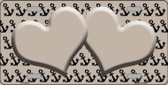 Tan Black Anchor Print With Tan Heart Center Wholesale Metal Novelty License Plate LP-5310